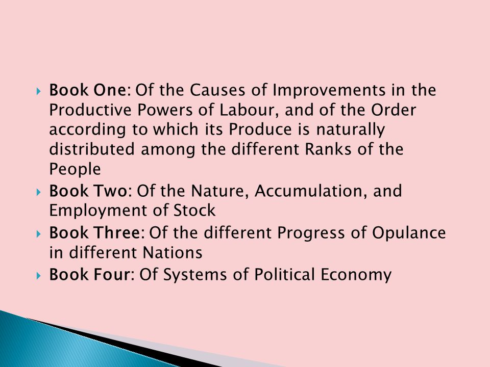 Book One: Of the Causes of Improvements in the Productive Powers of Labour, and of the Order according to which its Produce is naturally distributed among the different Ranks of the People