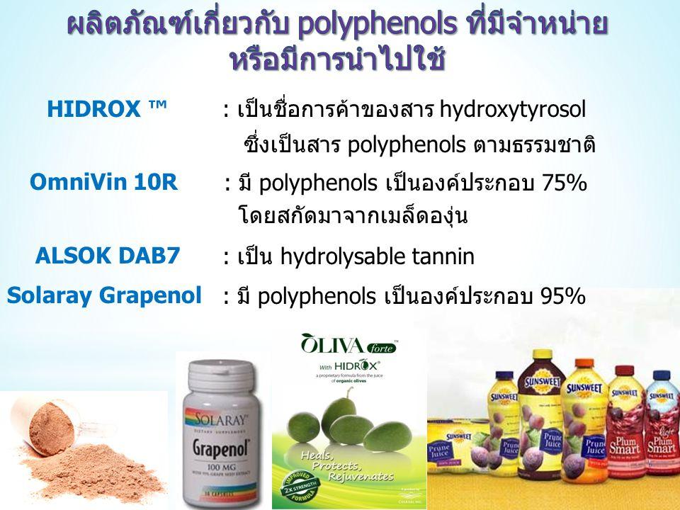 ผลิตภัณฑ์เกี่ยวกับ polyphenols ที่มีจำหน่าย