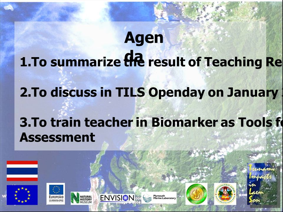 Agenda 1.To summarize the result of Teaching Resource Pack I