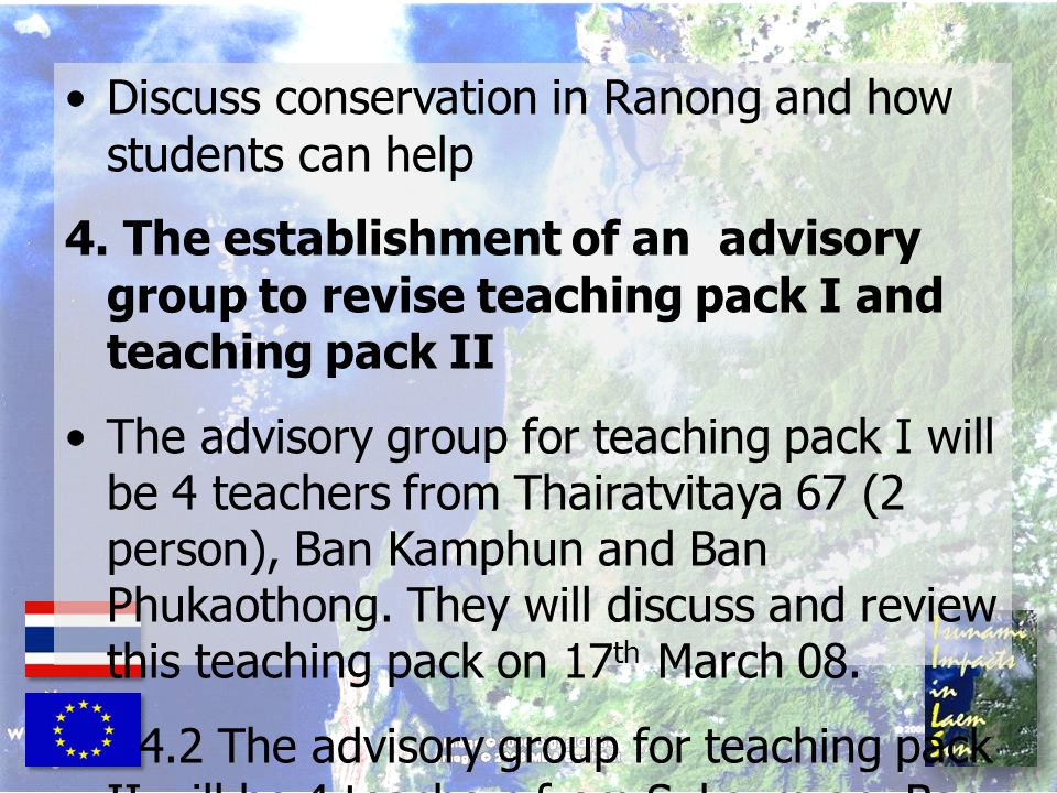 Discuss conservation in Ranong and how students can help