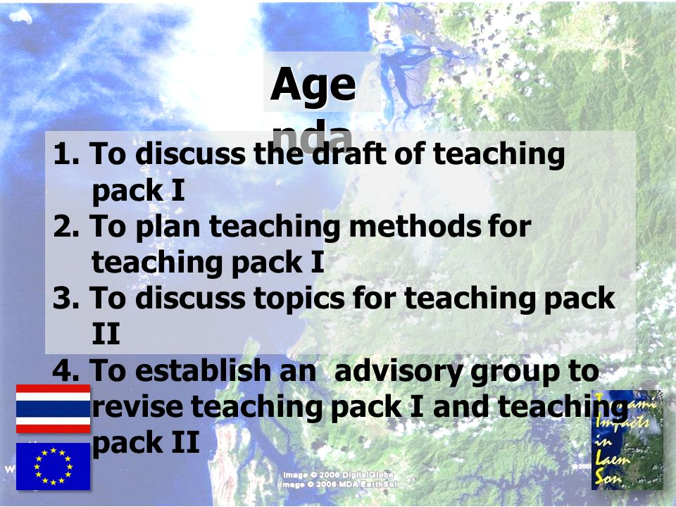 Agenda 1. To discuss the draft of teaching pack I