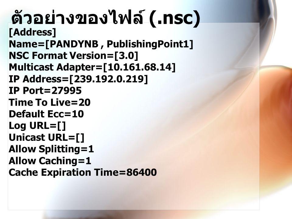 ตัวอย่างของไฟล์ (.nsc)