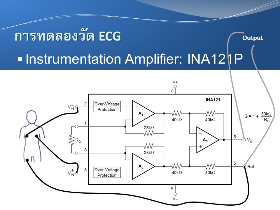 การทดลองวัด ECG Output Instrumentation Amplifier: INA121P