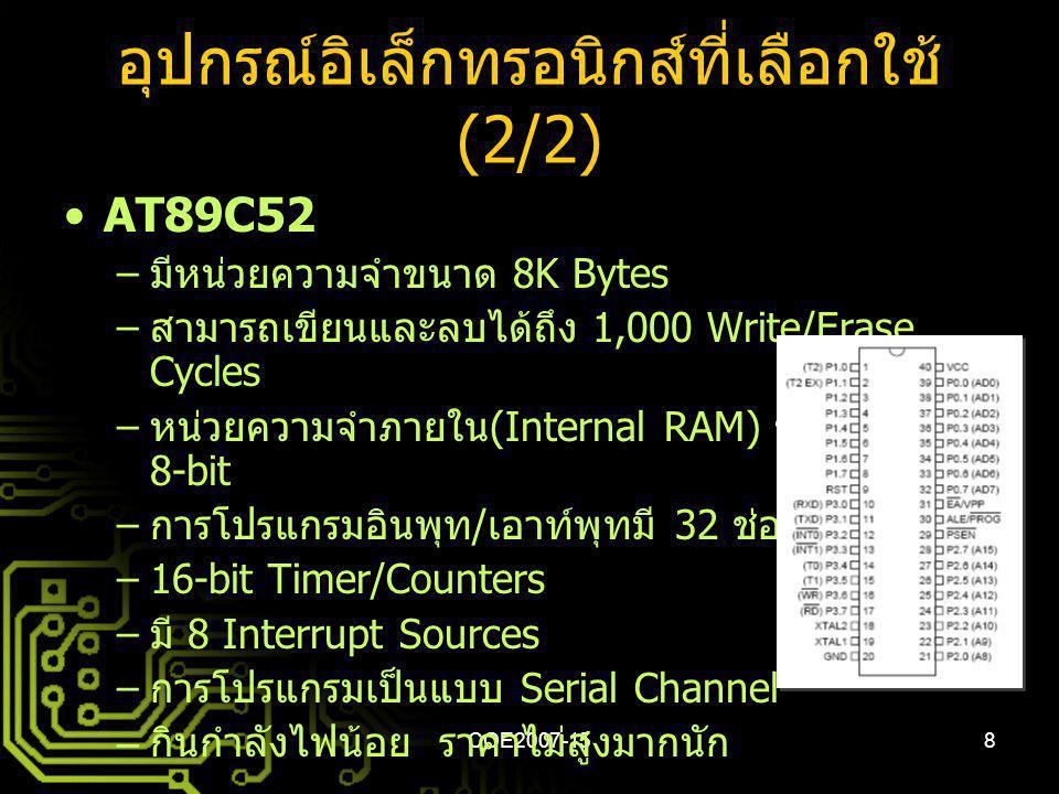 อุปกรณ์อิเล็กทรอนิกส์ที่เลือกใช้ (2/2)