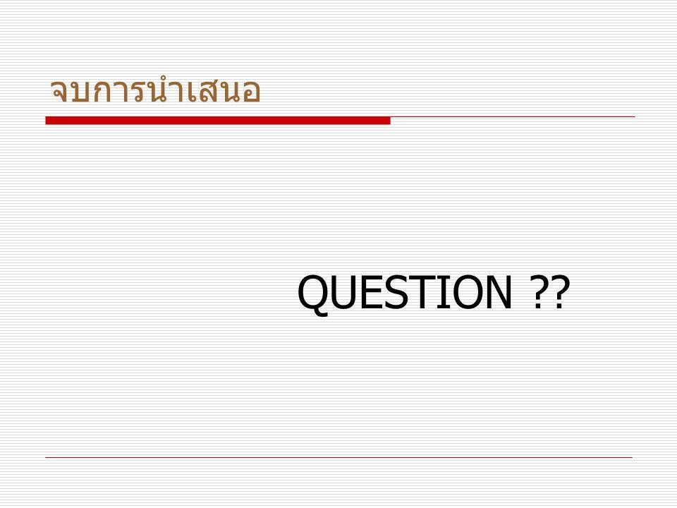 จบการนำเสนอ QUESTION