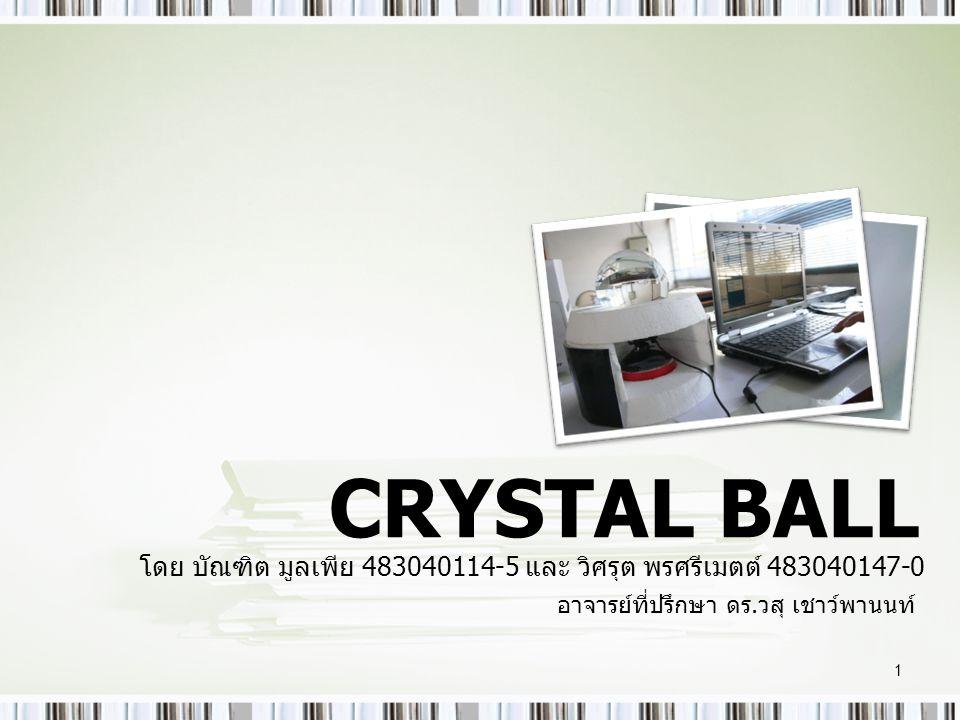 CRYSTAL BALL โดย บัณฑิต มูลเพีย 483040114-5 และ วิศรุต พรศรีเมตต์ 483040147-0.