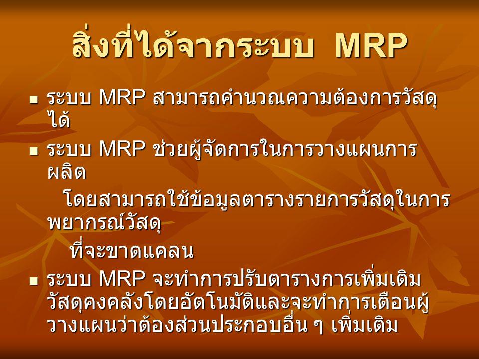 สิ่งที่ได้จากระบบ MRP