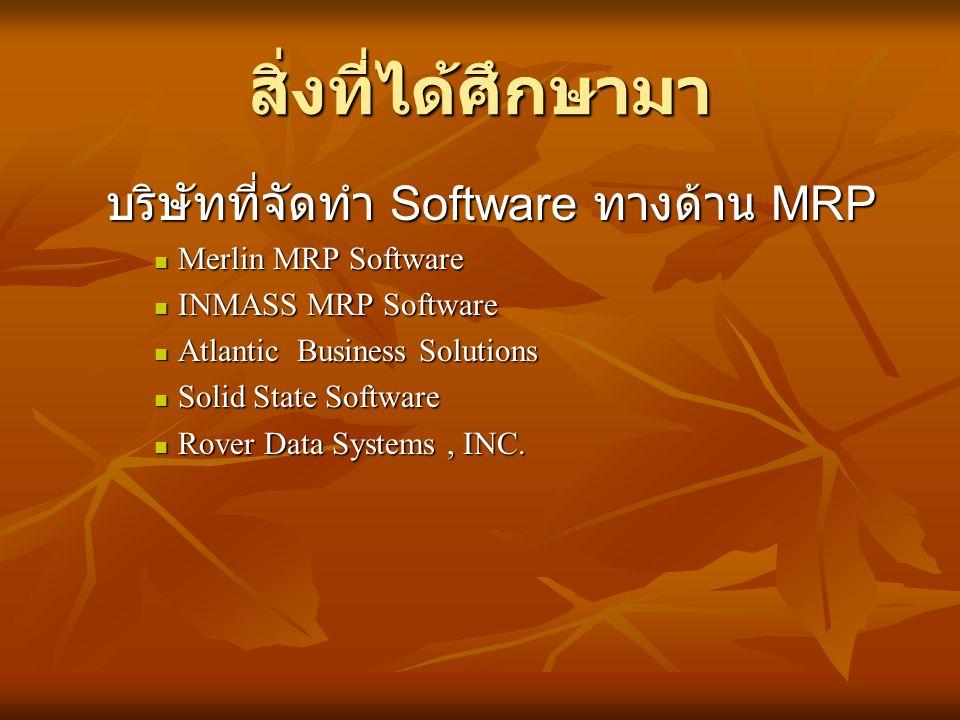 สิ่งที่ได้ศึกษามา บริษัทที่จัดทำ Software ทางด้าน MRP