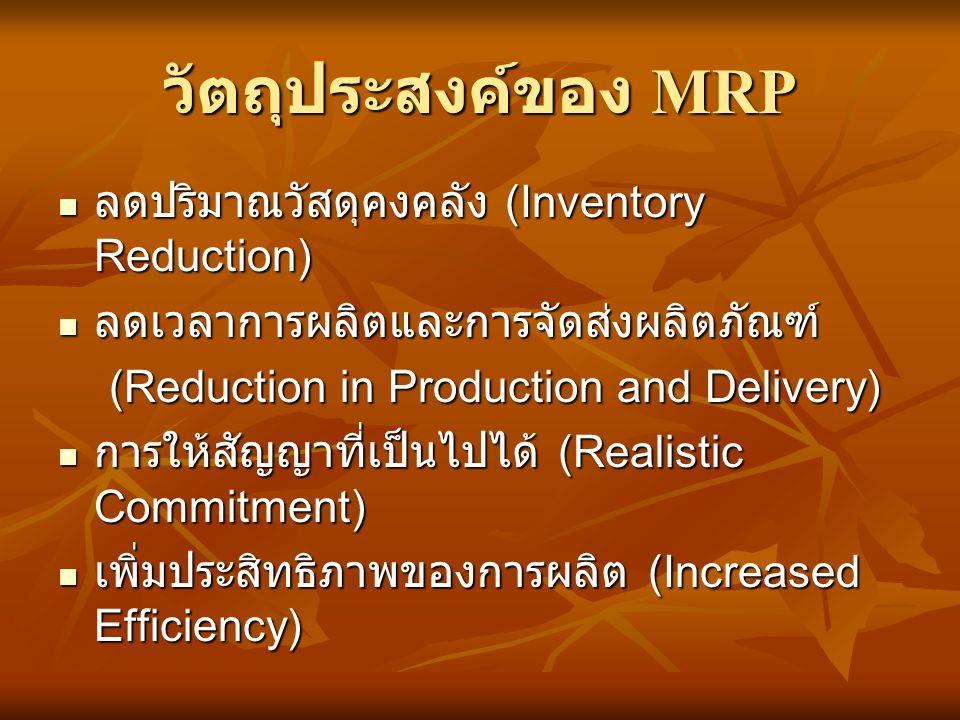 วัตถุประสงค์ของ MRP ลดปริมาณวัสดุคงคลัง (Inventory Reduction)