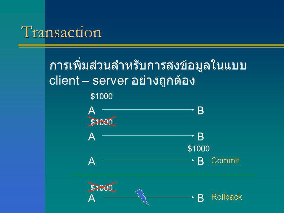 Transaction การเพิ่มส่วนสำหรับการส่งข้อมูลในแบบ client – server อย่างถูกต้อง. $1000. A. B. $1000.