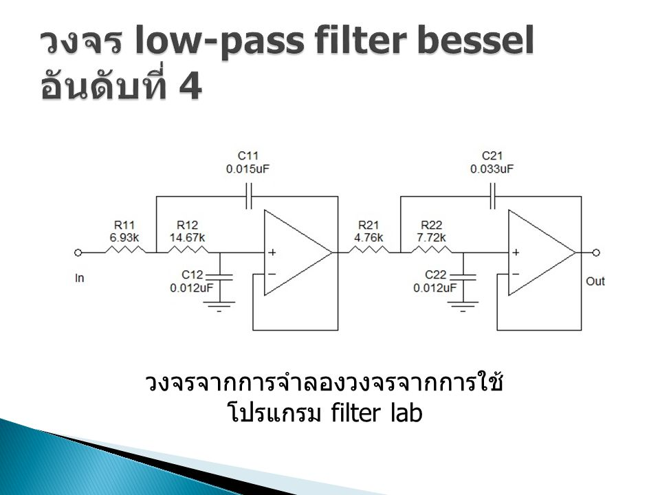 วงจร low-pass filter bessel อันดับที่ 4