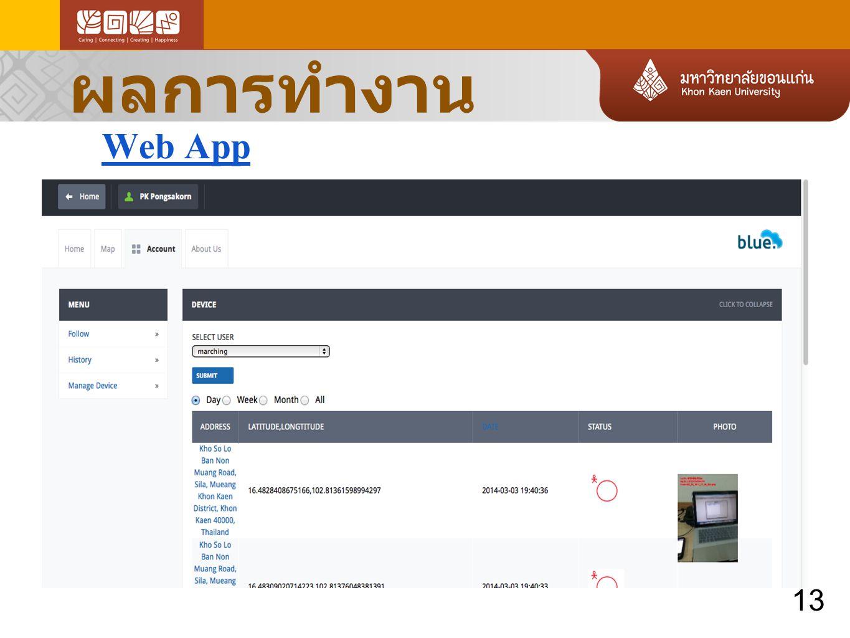 ผลการทำงาน Web App 13