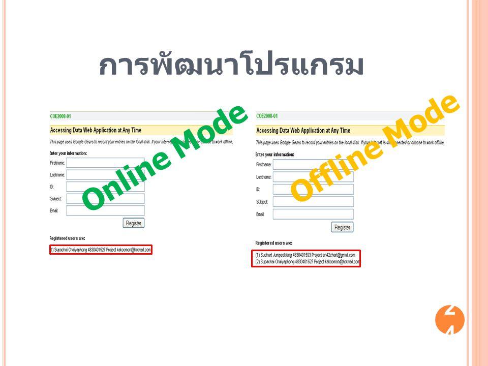 การพัฒนาโปรแกรม Online Mode Offline Mode