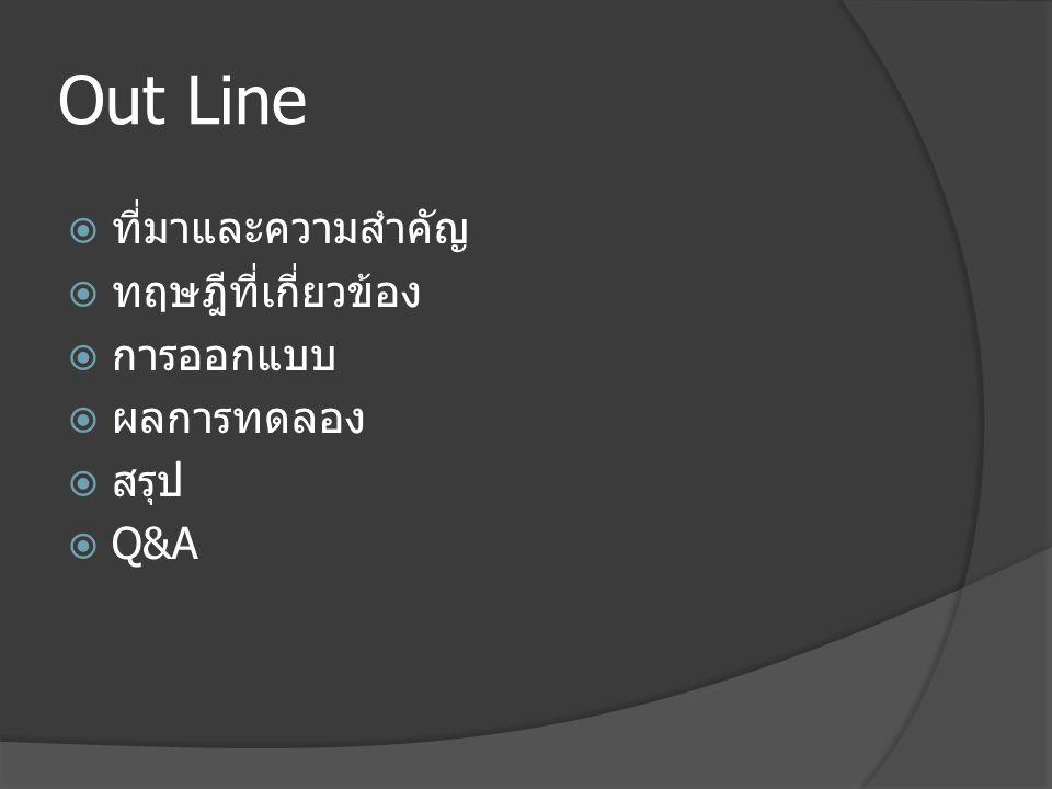 Out Line ที่มาและความสำคัญ ทฤษฎีที่เกี่ยวข้อง การออกแบบ ผลการทดลอง