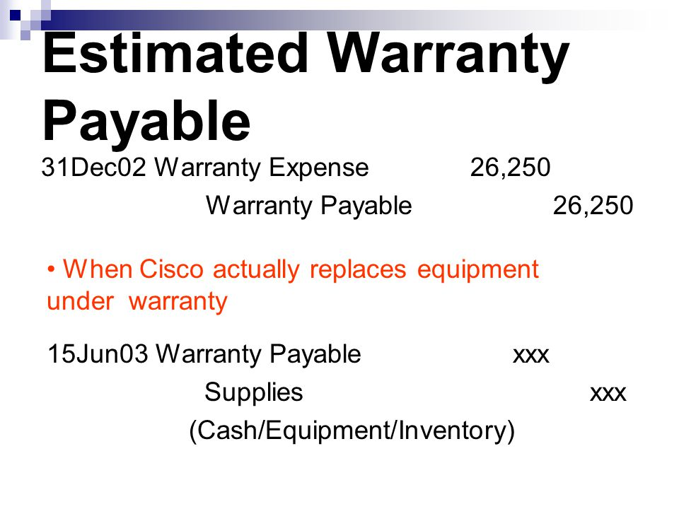 Estimated Warranty Payable