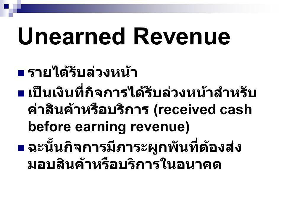 Unearned Revenue รายได้รับล่วงหน้า