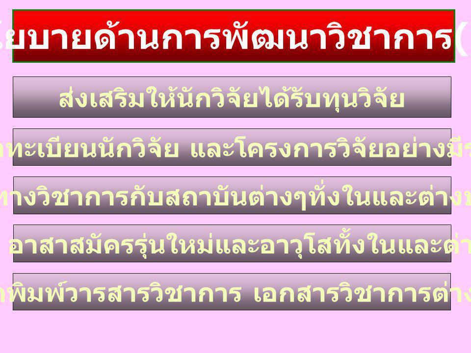 นโยบายด้านการพัฒนาวิชาการ(1)