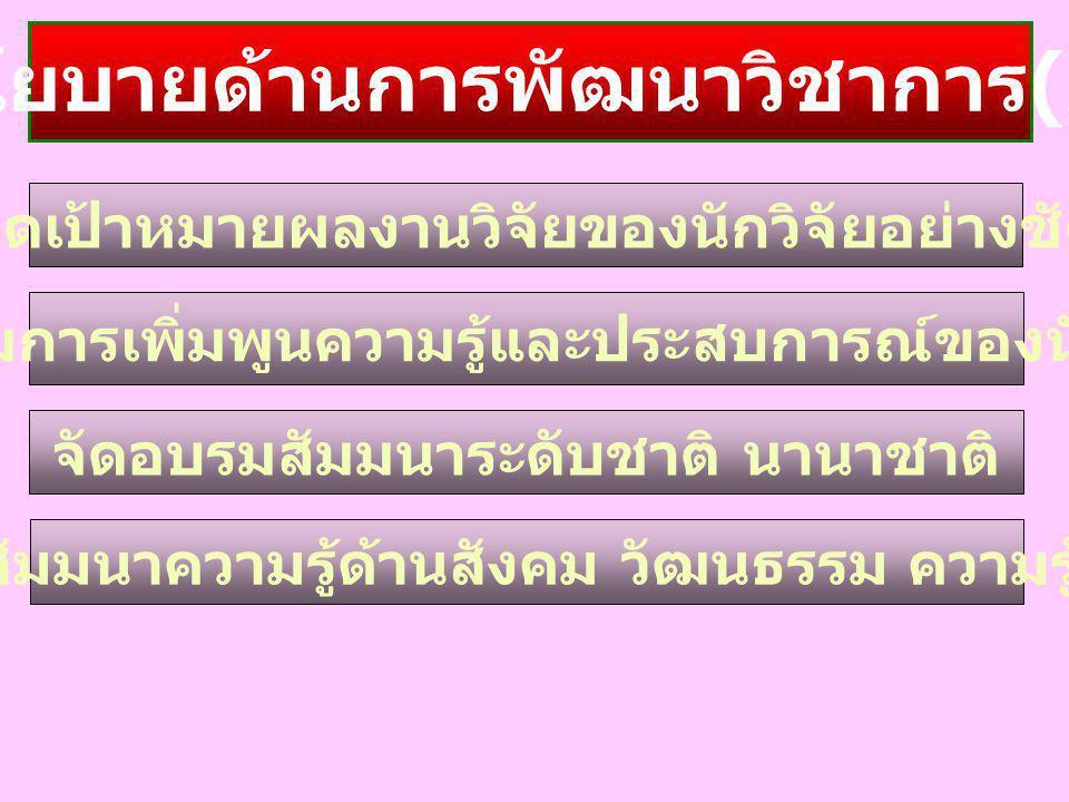 นโยบายด้านการพัฒนาวิชาการ(2)