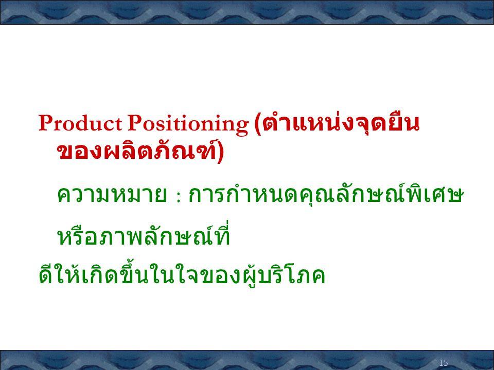 Product Positioning (ตำแหน่งจุดยืนของผลิตภัณฑ์)