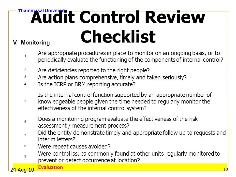 Audit Control Review Checklist