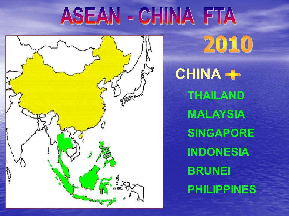 ASEAN - CHINA FTA 2010 CHINA + THAILAND MALAYSIA SINGAPORE INDONESIA