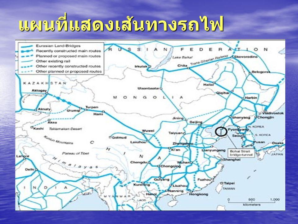 แผนที่แสดงเส้นทางรถไฟ