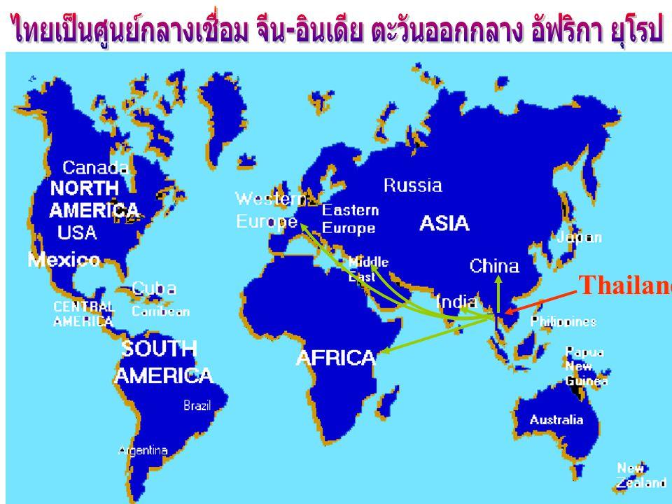 ไทยเป็นศูนย์กลางเชื่อม จีน-อินเดีย ตะวันออกกลาง อัฟริกา ยุโรป