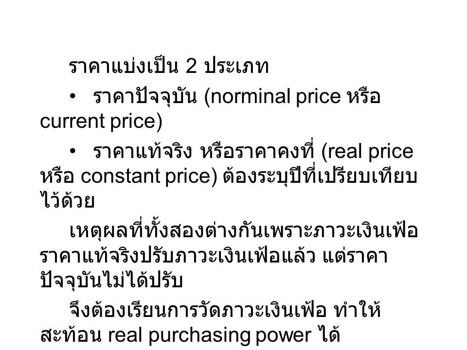 ราคาแบ่งเป็น 2 ประเภท • ราคาปัจจุบัน (norminal price หรือ current price)