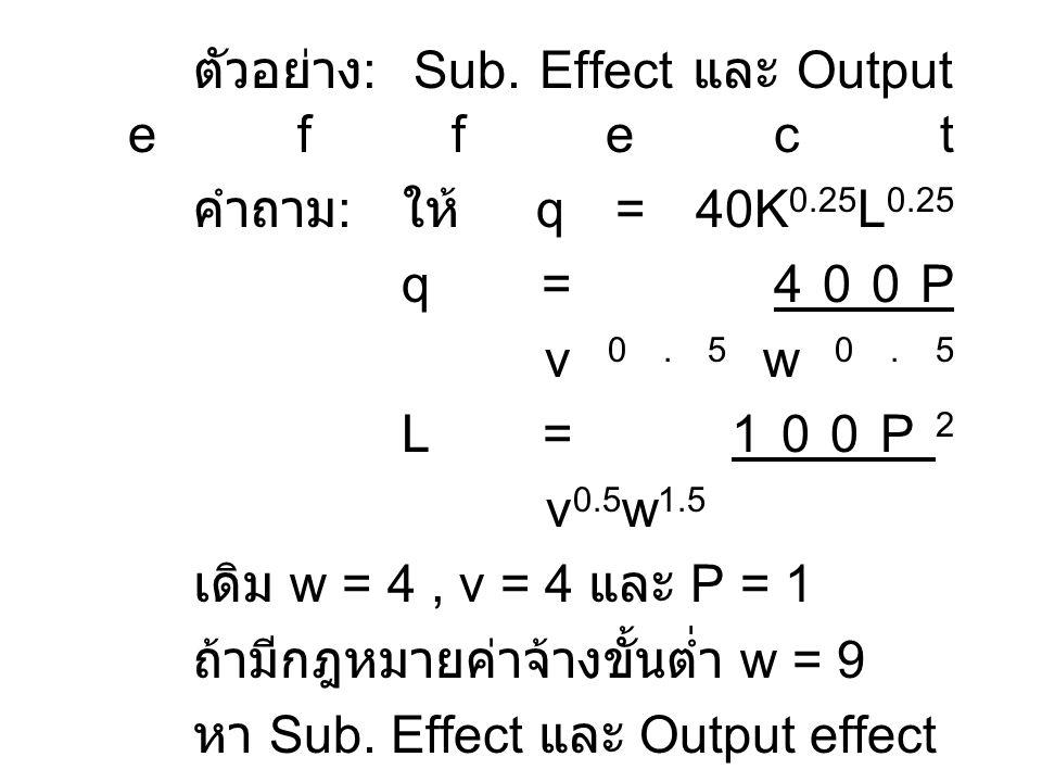 ตัวอย่าง: Sub. Effect และ Output effect