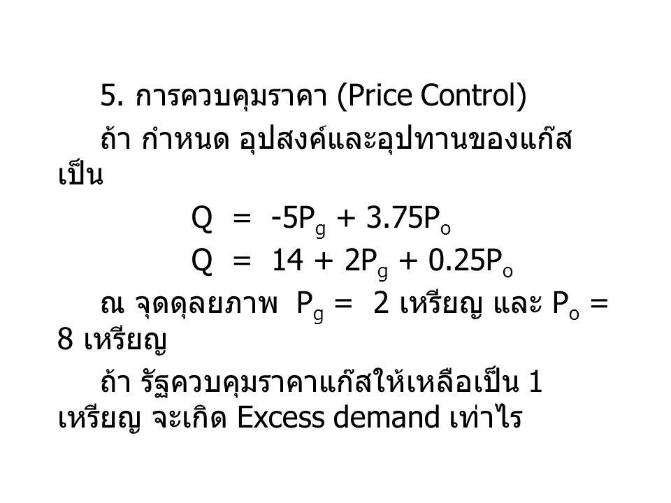 5. การควบคุมราคา (Price Control)
