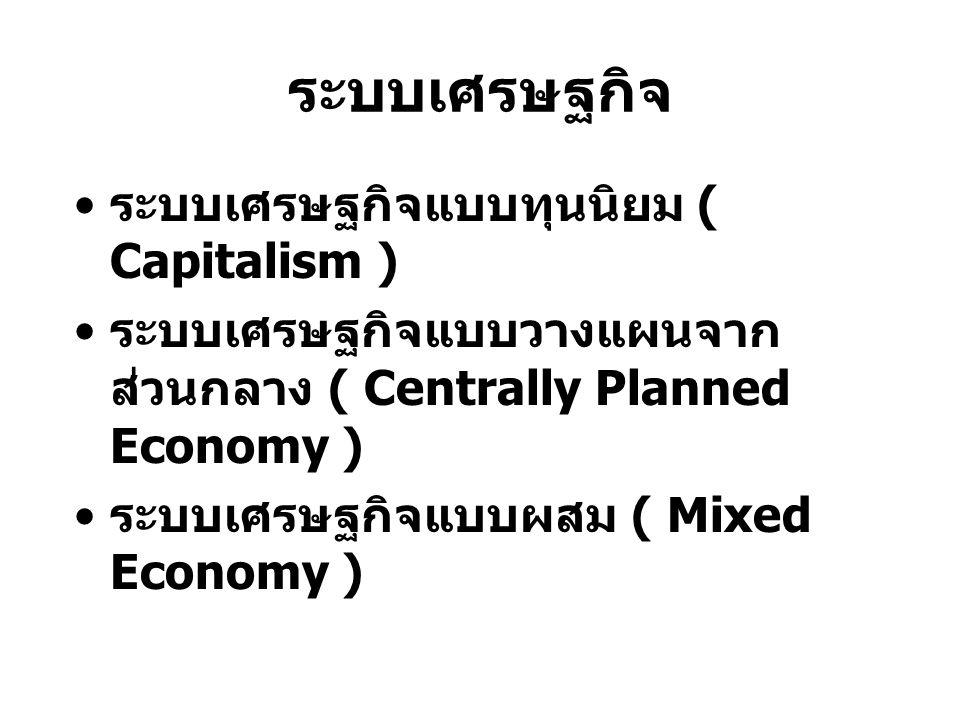 ระบบเศรษฐกิจ ระบบเศรษฐกิจแบบทุนนิยม ( Capitalism )