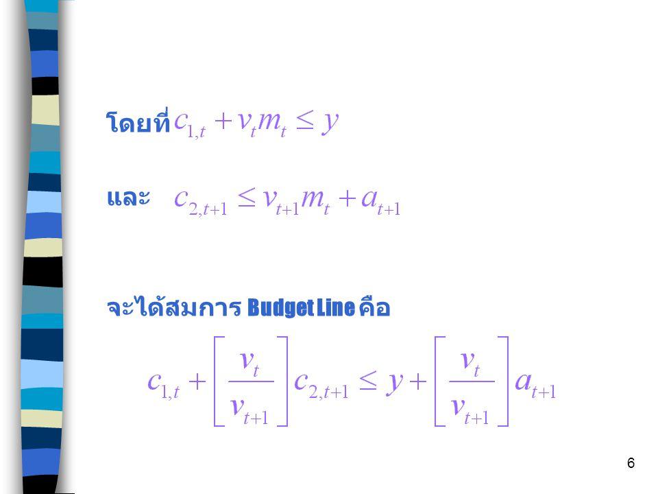 โดยที่ และ จะได้สมการ Budget Line คือ