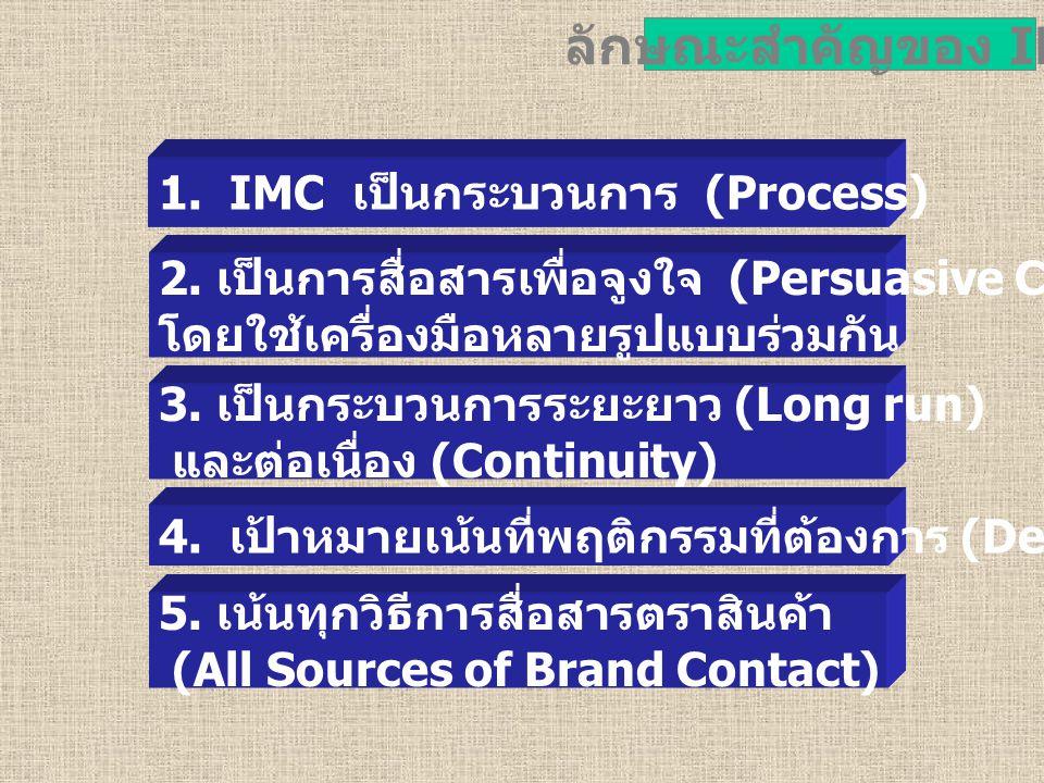 ลักษณะสำคัญของ IMC 1. IMC เป็นกระบวนการ (Process)