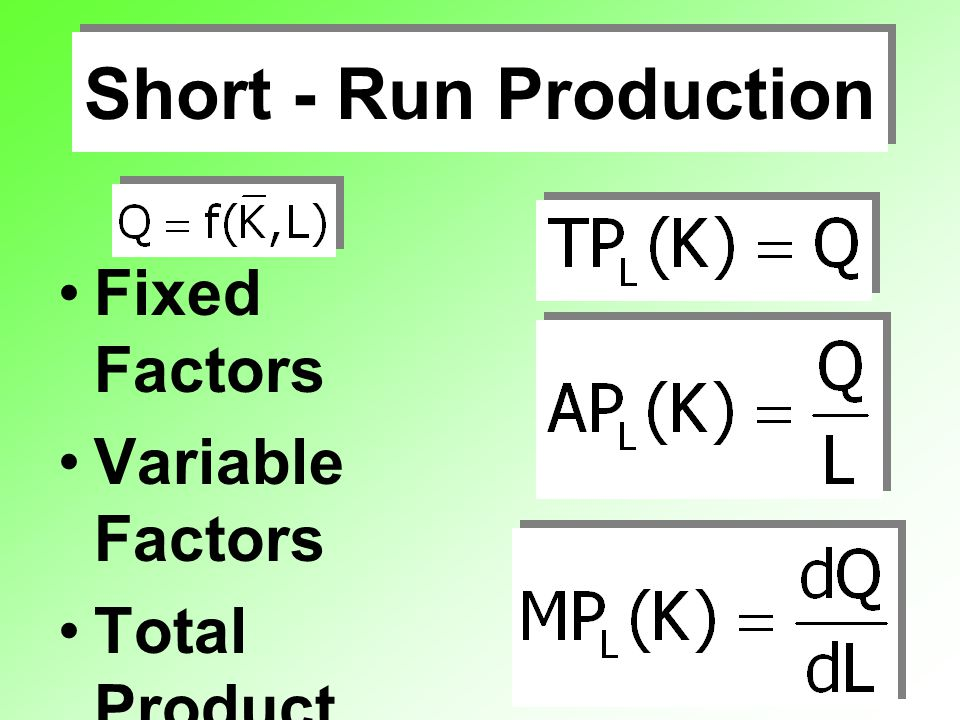 Short - Run Production Fixed Factors Variable Factors Total Product