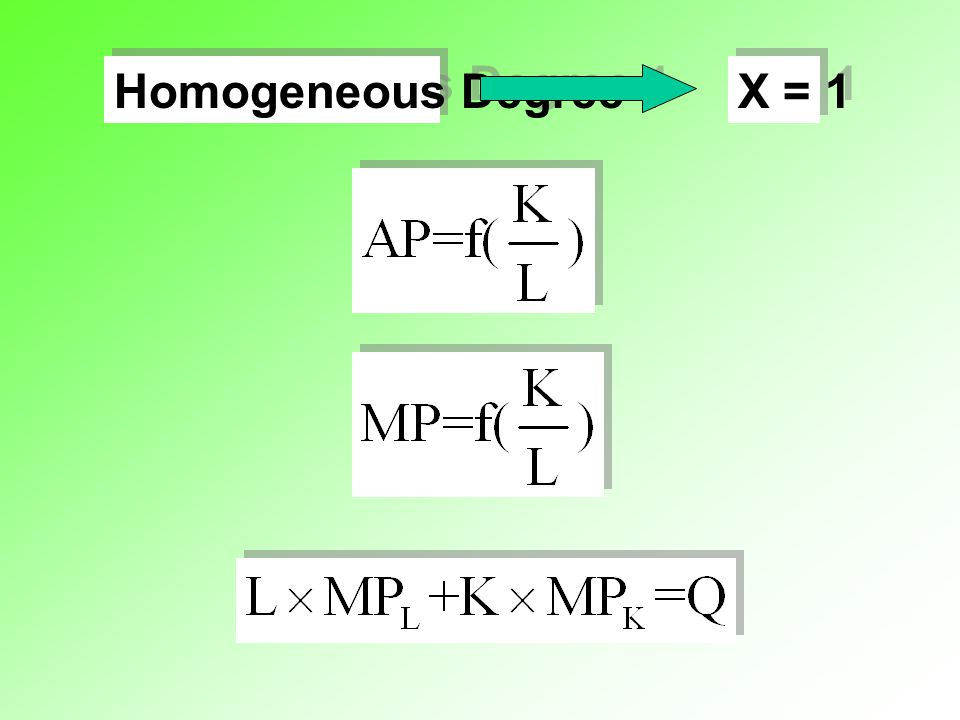 Homogeneous Degree 1 X = 1