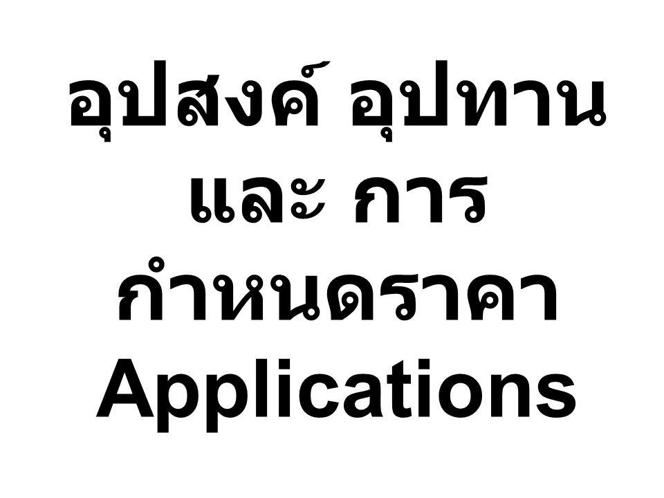 อุปสงค์ อุปทาน และ การกำหนดราคา Applications