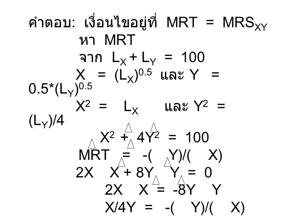คำตอบ: เงื่อนไขอยู่ที่ MRT = MRSXY