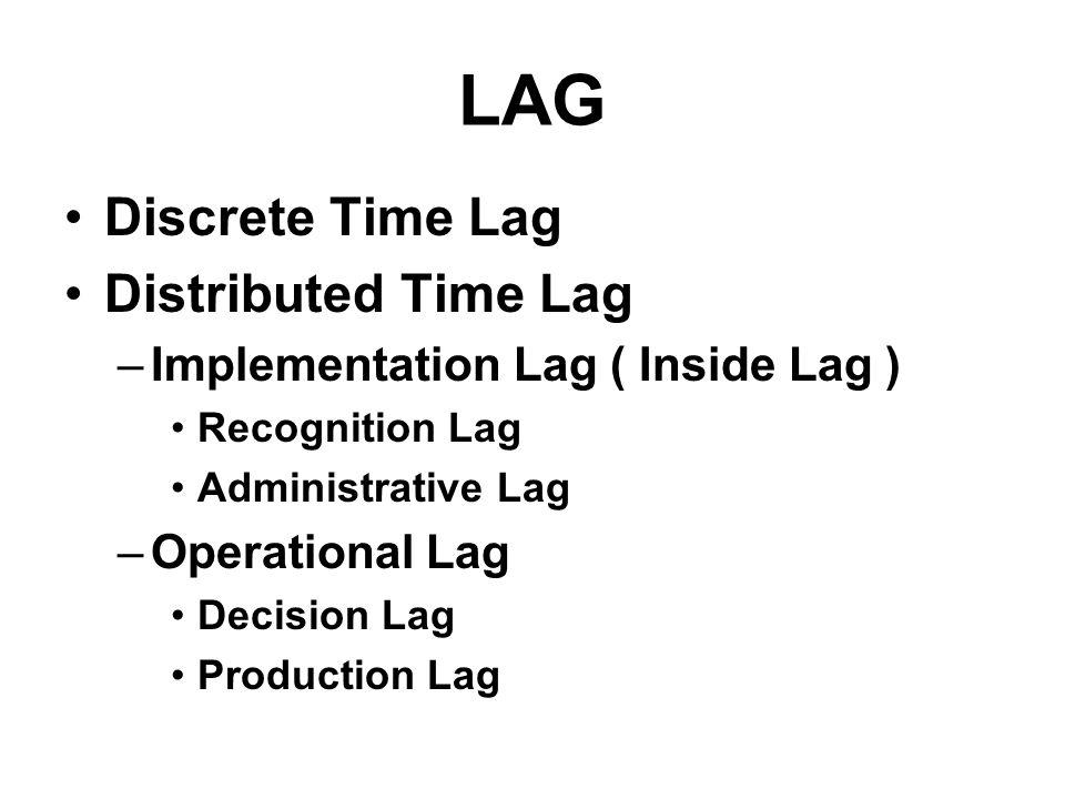LAG Discrete Time Lag Distributed Time Lag