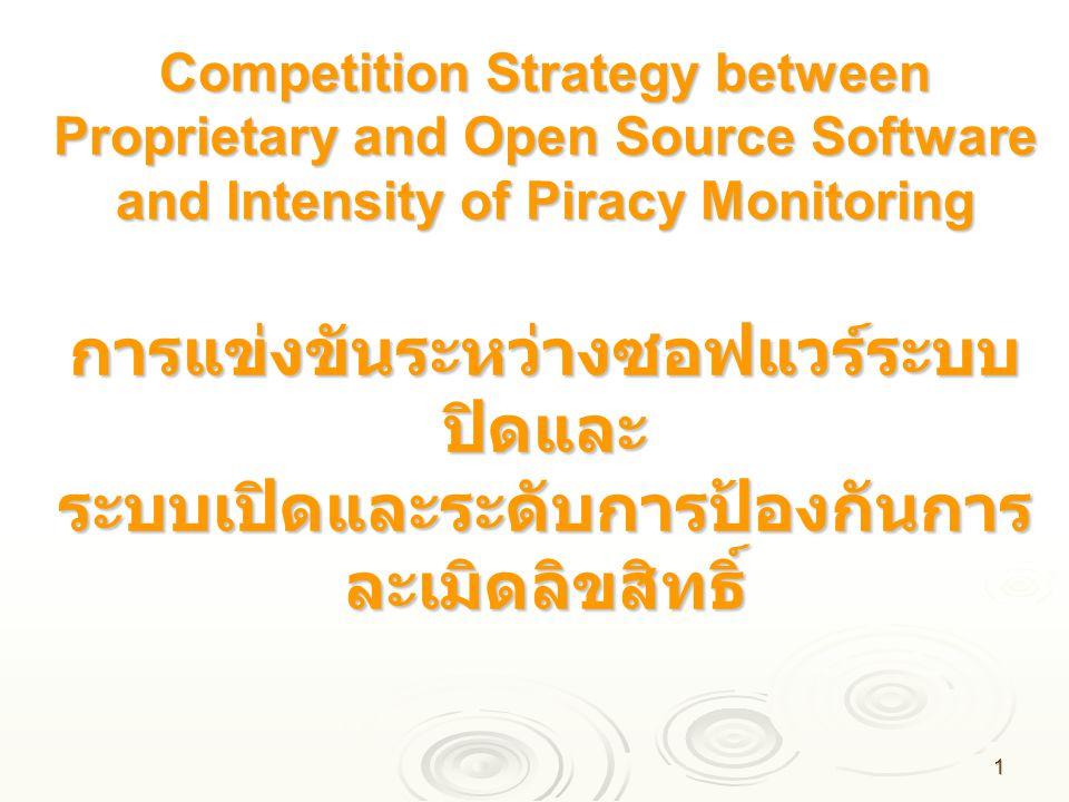 Competition Strategy between Proprietary and Open Source Software and Intensity of Piracy Monitoring การแข่งขันระหว่างซอฟแวร์ระบบปิดและ ระบบเปิดและระดับการป้องกันการละเมิดลิขสิทธิ์