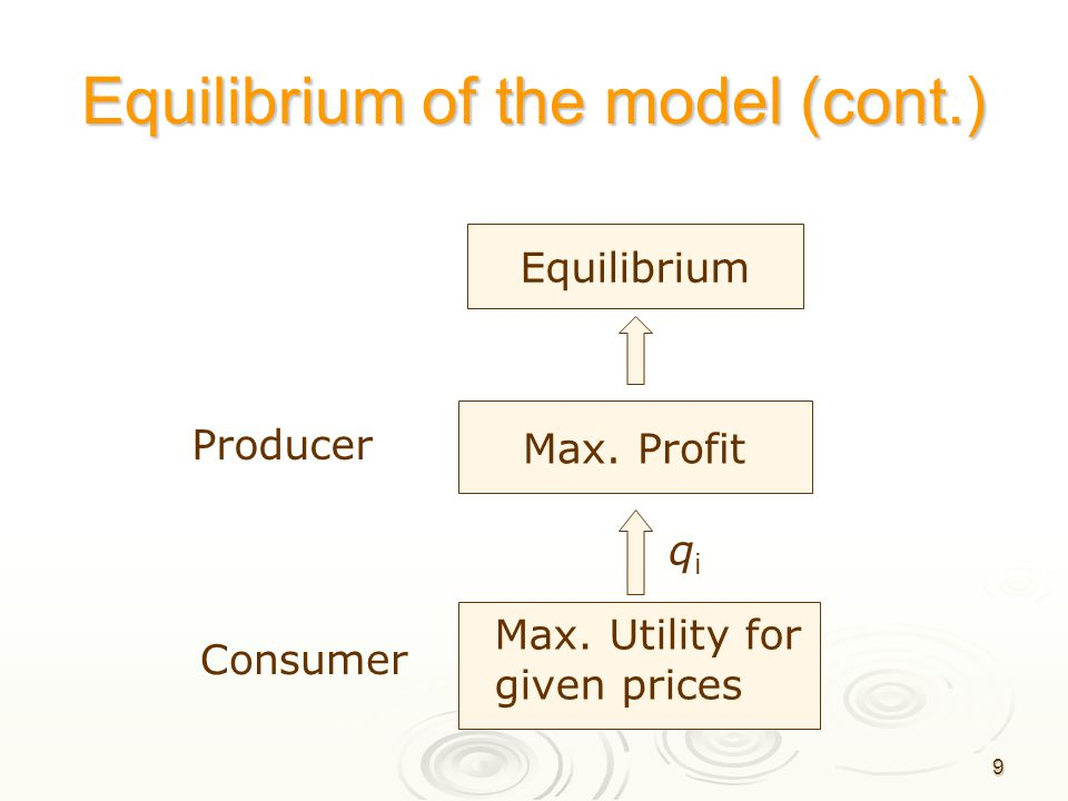 Equilibrium of the model (cont.)
