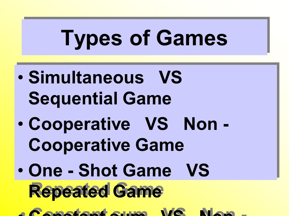 Types of Games Simultaneous VS Sequential Game