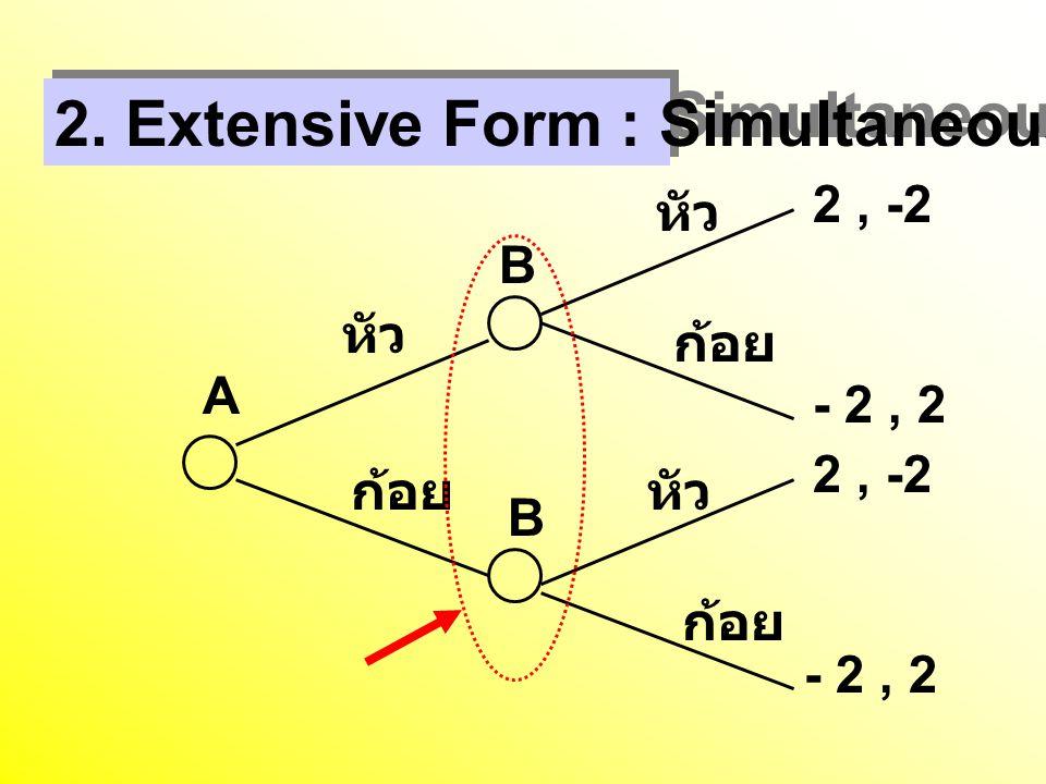 2. Extensive Form : Simultaneous