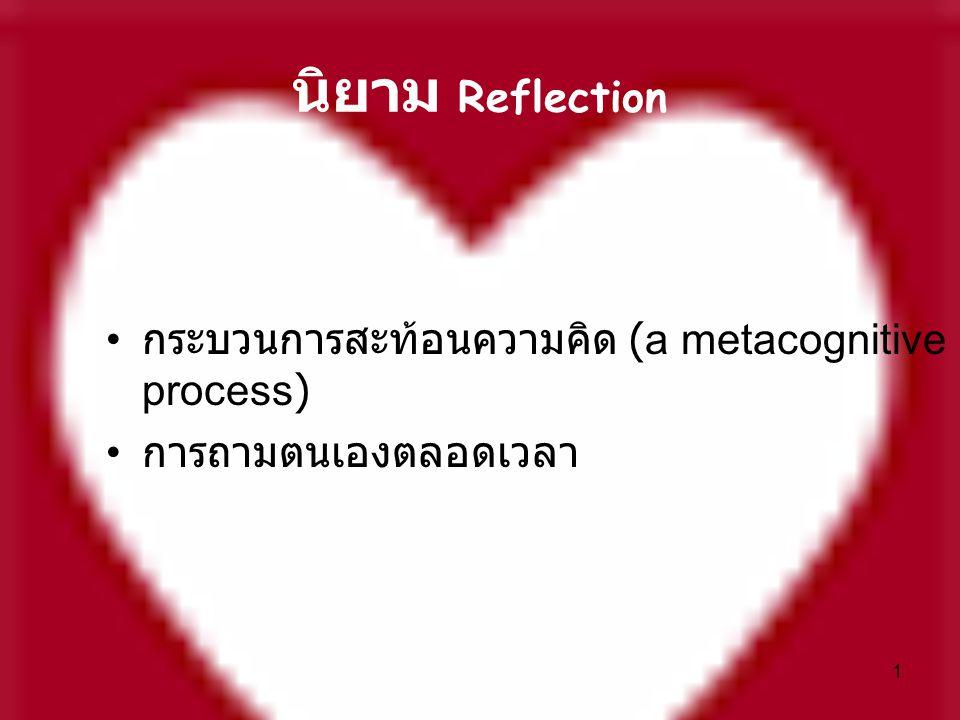นิยาม Reflection กระบวนการสะท้อนความคิด (a metacognitive process)