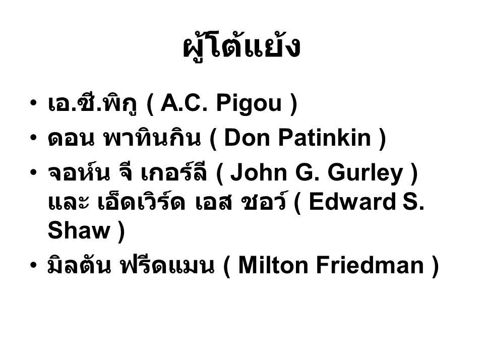 ผู้โต้แย้ง เอ.ซี.พิกู ( A.C. Pigou ) ดอน พาทินกิน ( Don Patinkin )