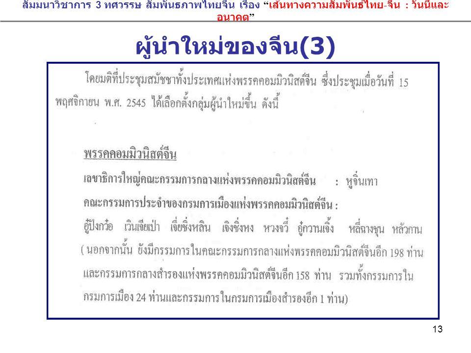สัมมนาวิชาการ 3 ทศวรรษ สัมพันธภาพไทยจีน เรื่อง เส้นทางความสัมพันธ์ไทย-จีน : วันนี้และอนาคต
