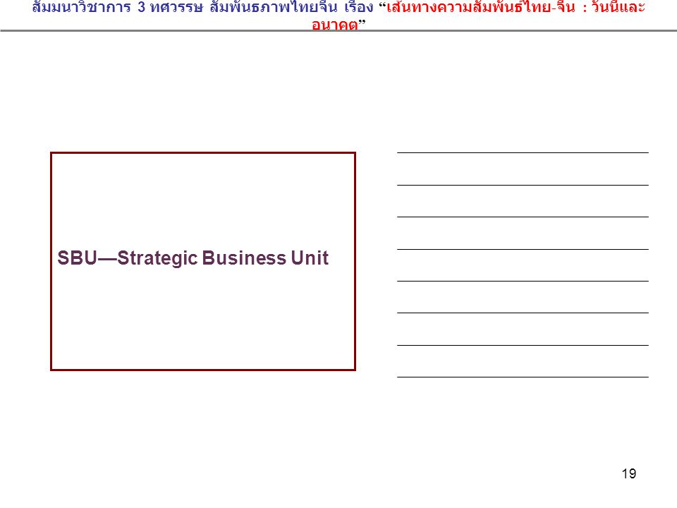 SBU—Strategic Business Unit