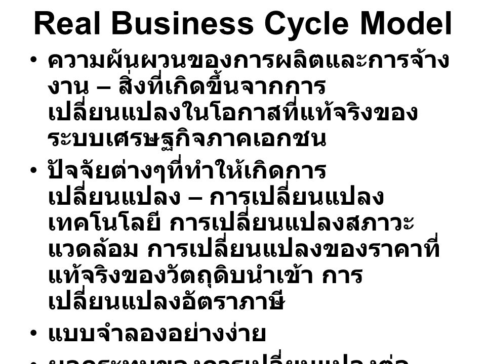 Real Business Cycle Model