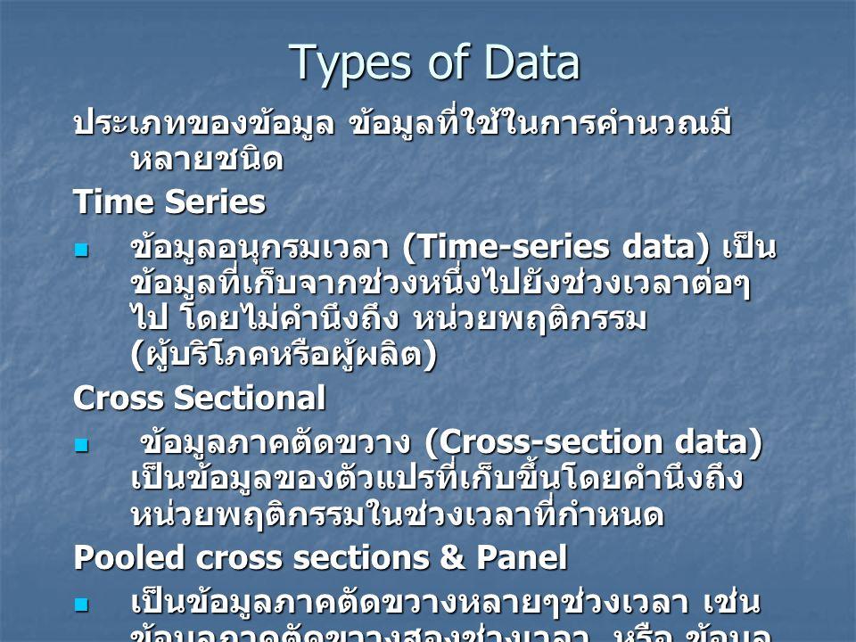 Types of Data ประเภทของข้อมูล ข้อมูลที่ใช้ในการคำนวณมีหลายชนิด