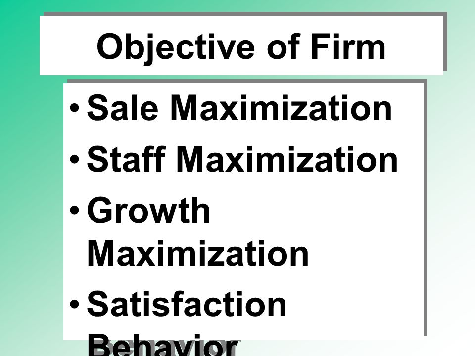 Objective of Firm Sale Maximization. Staff Maximization. Growth Maximization. Satisfaction Behavior.