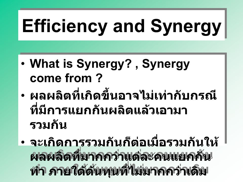Efficiency and Synergy